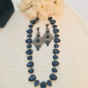 Jewelry - Blue Saffire silver necklace & matching earrings